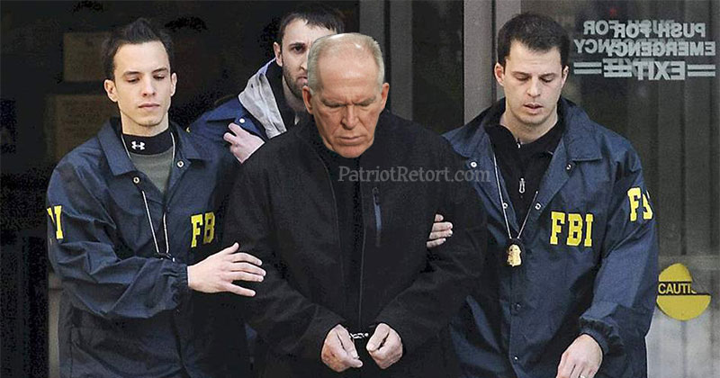 Brennan in cuffs